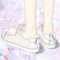 艾米与麦麦丝带小白鞋女2019夏季透气少女韩版学生可爱百搭潮流蕾丝网纱板鞋