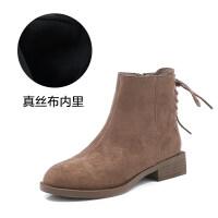 2019秋冬季新款网红短靴子女鞋加绒裸靴韩版百搭瘦瘦靴踝靴潮