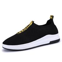 夏款飞�男鞋韩版男士懒人潮鞋子男休闲鞋男运动鞋网布鞋 黑色JY-323