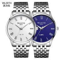 沃力仕新款防水商务石英表简约时尚学生钢带表男款夜光手表