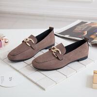 春季新款粗跟单鞋女方头韩版懒人鞋中跟一脚蹬小皮鞋