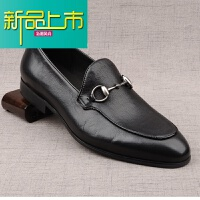 新品上市英伦复古男士皮鞋商务休闲软牛皮单鞋子韩版真皮一脚蹬鞋男潮 黑色 (光面)