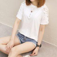 短袖上衣女夏新款百搭宽松风白色港味T恤半袖体恤蕾丝镂空t