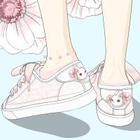 艾米与麦麦韩版仙女风蕾丝小白鞋女2019夏季新款透气镂空网纱女鞋缎带平底低帮板鞋