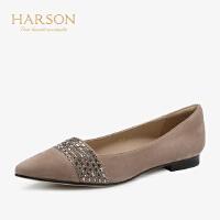 【 限时4折】哈森 2019夏季新款街头百搭羊反绒水钻尖头平底单鞋女HL91418