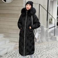 羽绒服韩版长款女冬季新款女装V字大毛领加厚修身年轻时尚外套