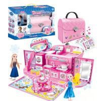过家家娃娃屋 小伶儿童玩具凯蒂猫手提包芭比公主娃娃屋套装女孩过家家别墅梦幻 冰雪公主 浴室+卧室+厨房