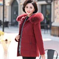 中年妈妈装冬装外套短款60中老年羽绒服女加厚40-50岁老人衣服女