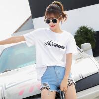 女装夏季新款韩版字母印花宽松百搭青春bf学生上衣短袖T恤女