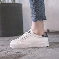 新款小白鞋女春季拼色平底休闲鞋系带学生板鞋白色跑步鞋 黑色 35