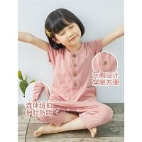 夏儿童连体睡衣中袖空调服男女童睡衣宝宝连体睡衣短袖