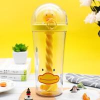 黄色鸭子水杯网红同款搅拌杯创意动物小猪杯子可爱萌宠吸管塑料杯幼儿学生喝水杯子 500ml