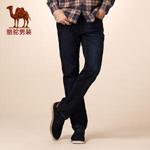 骆驼男装 秋季新款微弹中高腰直脚长裤 合体直筒牛仔裤 男