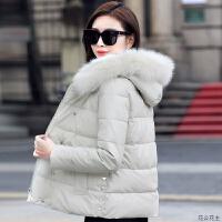 PU皮女2018新款韩版时尚百搭修身小个子冬季短款羽绒棉衣女潮