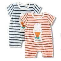 婴儿连体衣服男女宝宝条纹哈衣3-6个月外出服1岁薄款短袖夏季