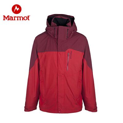 Marmot土拨鼠GTX全压胶防水防风全天候冲锋衣 男式 D30420_6282红色-深红,L
