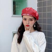 红色PU皮质贝雷帽女士秋冬天英伦复古韩版日系字母八角帽子潮ins
