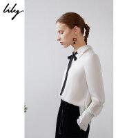 【不打烊价:151元】 Lily春新款女装商务通勤撞色飘带直筒白色套头衫119110C8292