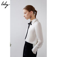 Lily春新款女装商务通勤撞色飘带直筒白色套头衫119110C8292