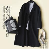 新年特惠大衣女宽松大码外套中长款毛呢韩版双面呢