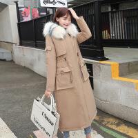 羽绒服韩版时尚长款女冬季新款加厚修身加长过膝女装大毛领外套