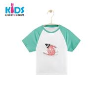 爱居兔童装2018夏季新品男小童短袖T恤印花T恤