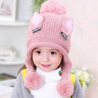 女童帽秋冬宝宝毛线帽2-3-5岁儿童加绒保暖护耳帽4韩版公主帽6潮