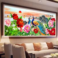 悟客/wuke精准印花十字绣孔雀开屏2米刺绣套件新款客厅画2.5米大幅牡丹花开富贵简约现代系列