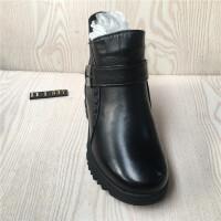 冬季妈妈棉鞋羊毛平底加厚中老年靴子女士老人雪地靴棉靴 黑色
