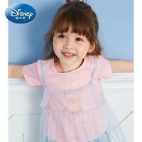 迪士尼宝宝童装儿童短袖冰雪奇缘女童T恤2019夏装爱莎公主上衣潮