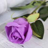 仿真玫瑰花套装花束假花玫瑰花客厅餐桌摆件花艺插花干花摆设装饰 雪山玫瑰 紫(十支)