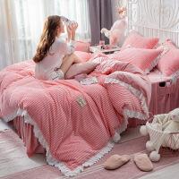 女珊瑚绒四件套双面冬季水晶绒床裙床单床罩被套法莱绒法兰绒定制