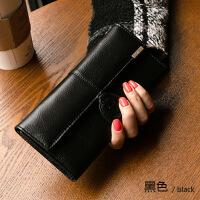 2019新款韩版新款三折女士真皮钱包多卡位女式钱夹日韩搭扣长款大钞夹薄