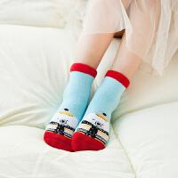 儿童袜子 【四双装】儿童可爱卡通宝宝圣诞袜礼盒装2020冬季新款毛圈加厚中筒袜子