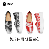 jm快乐玛丽春夏季潮一脚蹬厚底条纹休闲鞋乐福鞋女鞋