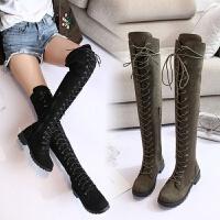 长筒靴女过膝平底马靴冬季过膝长靴女圆头中跟系带不掉筒女筒靴