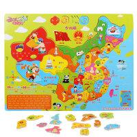 中国地图拼图儿童木质益智玩具1-2-3-4-6周岁男孩早教世界拼图
