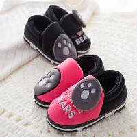 包跟儿童棉拖鞋男女童冬季保暖卡通一家三口宝宝1-3岁室内毛棉鞋