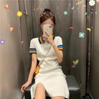 小清新彩虹领短袖高腰针织裙2019夏季新款气质短裙子开叉连衣裙女 图片色 均码