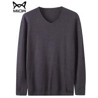 猫人男装秋季男士v领毛衣男韩版修身套头纯色打底针织衫毛衫上衣