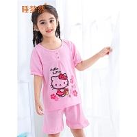 儿童睡衣女童夏季薄款宝宝套装中大童小孩亲子家居服套装