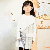 【秒杀价:165元】马拉丁童装女童卫衣春装2020年新款洋气设计中长款白色卫衣裙