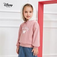 迪士尼童装儿童女可爱毛绒帽上衣春秋新款宝宝女童加绒连帽卫衣
