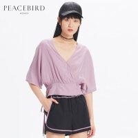 太平鸟紫色T恤女2019夏装新款V领上衣收腰抽绳套头衫女简约通勤
