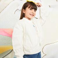 【1件秒杀价:216】马拉丁童装女大童外套春装2020年新款休闲百搭白色夹克短外套