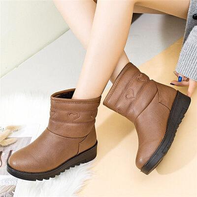妈妈棉鞋女冬中年女鞋孕妇平底滑短靴加绒保暖加厚水雪地靴   冬季时尚新款女鞋 男鞋