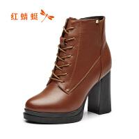 红蜻蜓女靴冬季新款时尚系带马丁靴舒适高跟粗跟短靴女靴