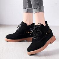 马丁靴女靴秋冬女鞋新款平底粗跟短靴女英伦风复古百搭系带
