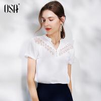 【2件1.5折价:209元】OSA欧莎白色醋酸雪纺衫女短袖夏季遮肚显瘦小衫2021新款绣花蕾丝上衣