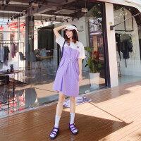 紫色格子拼接连衣裙女春2019新款韩版收腰小个子连体裙a字连身裙